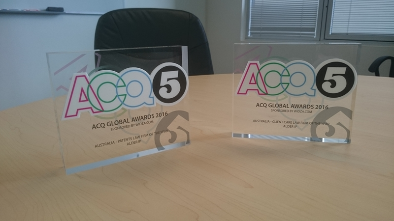 Alder IP was named as Australia's Patent and Client Care Law Firm of the year by ACQ.